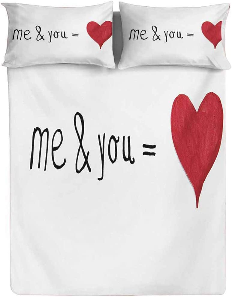 Love Fitted Sheet King Size,and You Equal to Us Everything My World Relationship Eros Valentines Print Fitted Sheet Set 3 Piece,1 Fitted Sheet & 2 Pillow Cases,15