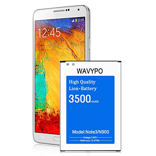 Galaxy Note 3 Battery, Wavypo 3500mAh Replacement Battery for Samsung Galaxy Note 3 [ N9000, N9005, N900A, N900V, N900P, N900T ] Note 3 Spare Battery [24 Month Warranty] (Samsung Galaxy Note 3 Extended Battery Case)