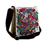 Lunarable Music Messenger Bag, Funky Keyboard Microphone, Unisex Cross-body