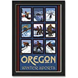"""Northwest Art Mall Oregon Winter Sports Collage Professionally Framed Wall Decor by Paul A. Lanquist. Print Size: 12"""" x 18"""" Framed Art Size: 14"""" x 20"""""""