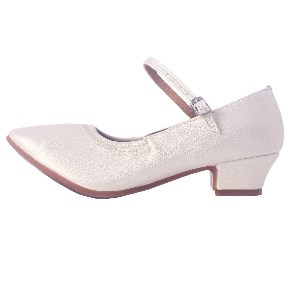 Blanc Chaussures De Danse Femme,Chaussures De Danse Chaussures De Danse Latine Dames Adultes Bas Souple Boucle Cuir Chaussures à Talons Bas Professeur National Chaussures De Salon Moderne 27 EU