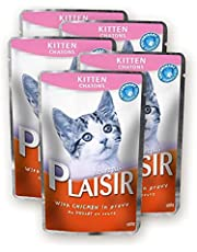 Plaisir Cat Food Chunks With Chicken in Gravy 100 GM For Kitten Cats (5 Pieces)