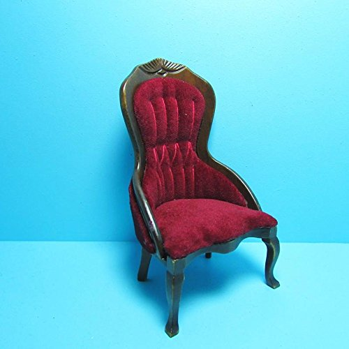 NEW LISTINGDollhouse Miniature Victorian Red Velvet Ladies Chair with Walnut CLA - My Mini Fairy Garden Dollhouse Accessories for Outdoor or House Decor