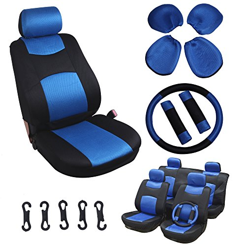 1966 Mustang Steering Wheel - SCITOO Universal Blue/Black Car Seat Cover w/Headrest /Steering Wheel/Shoulder Pads 11Pcs Breathable Mesh Cloth Retractable