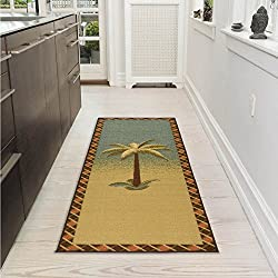 "Ottomanson Sara's Kitchen Tropical Palm Tree Design Bathroom Mat Runner Rug with Non-Skid (Non-Slip) Rubber Backing, 20"" x 59"", Multicolor"