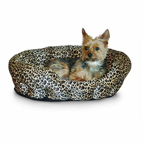 K&H Pet Products Self-Warming Nuzzle Nest Pet Bed Leopard 19
