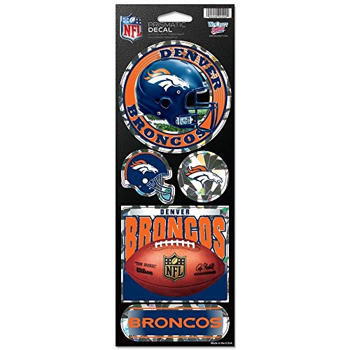 WinCraft NFL Denver Broncos Prismatic Stickers, Team Color, One Size -