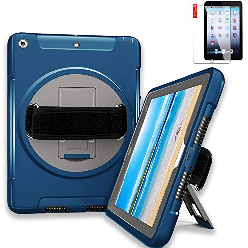 (iPad Air (Air 1) Case Heavy Duty 9.7 with Screen Protector - Hand Strap,Shoulder Strap, Hardback, 360 Rotatable Kickstand, Shockproof - A1474 A1475 MD785LL/A)