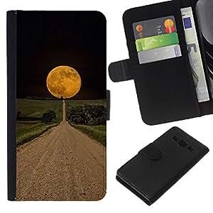 Planetar® Modelo colorido cuero carpeta tirón caso cubierta piel Holster Funda protección Para Samsung Galaxy A3 / SM-A300 ( Road Hope Black Night Field )