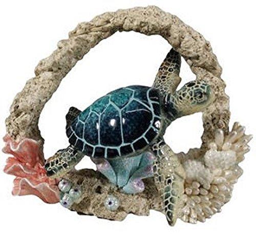 Coral Figurine - December Diamonds Sealife Figurine - Blue Turtle with Coral, Medium Size