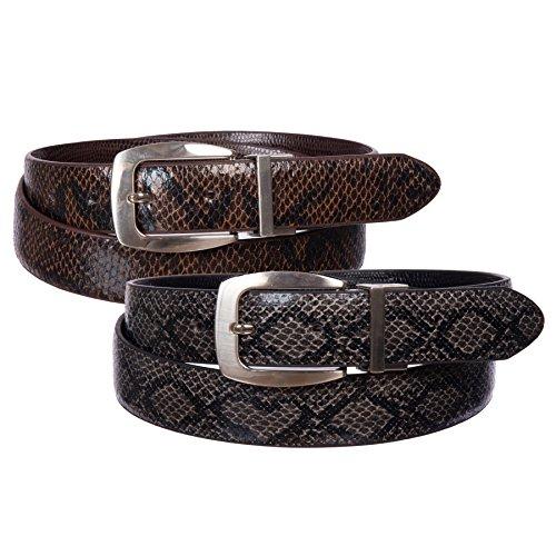 Sunny Belt Women's 2 Pack Reversible Faux Leather Snakeskin Belts (Black/Brown, XL)