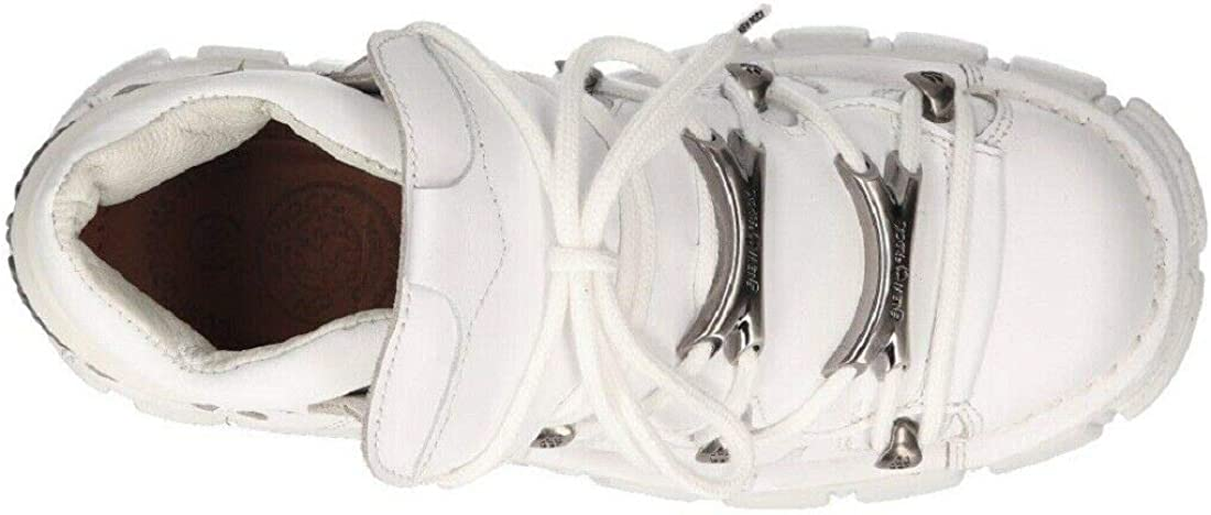 New Rock Chaussures 106N-S52 Tower Bottes Gothiques en Cuir Blanc Motard Punk