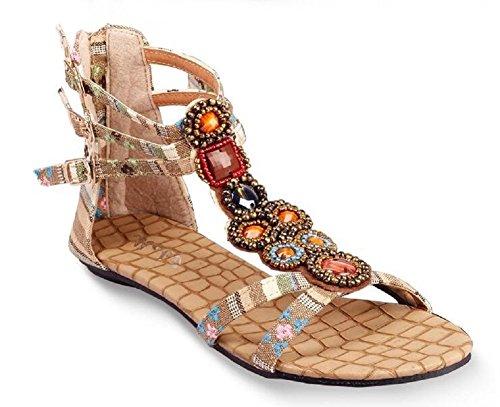 Lazutom - Sandalias de vestir de Material Sintético para mujer, color beige, talla 37 EU