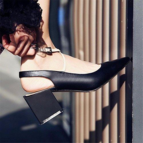 NVXIE Femmes Pointu Doigt de Pied Slingback Cheville Traverser Les Bretelles Carré Milieu Talon Cuir Pompes Tribunal Chaussures des Sandales Noir Printemps Été Fête Robe BLACK-EUR38UK55 2LzCJ