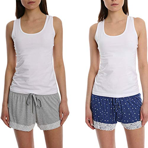 2 Pack Super Soft Lace Trim Short with Adjustable Drawstring Heather - Grey and Navy Star ()