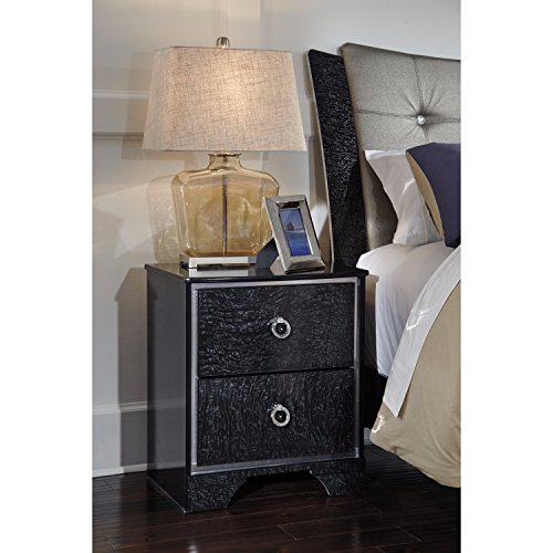 Price comparison product image Amrothi Two Drawer Night Stand Black/Contemporary