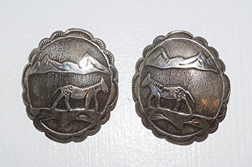 Genuine Navajo Handcrafted Sterling Silver Story Teller Earrings with Overlay Painted Pony Design