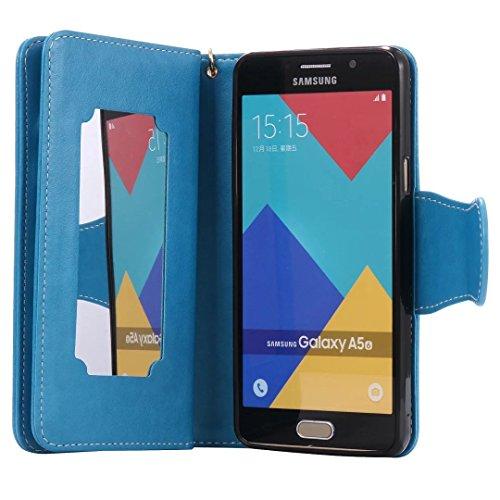 Ultra Slim Case para Galaxy A5 2016 A510F Funda Libro Suave PU Leather Cuero- Sunroyal ® Bookstyle Cobertura Wallet Case Con Flip Cover Cierre Magnético,Función de Soporte Billetera con Tapa para Tarj A-03