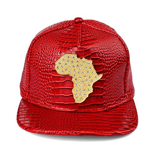 MCSAYS PU Leather Flat Brim Snapback Hat African Map Embossed Snake Skin Alligator Pattern Baseball Cap