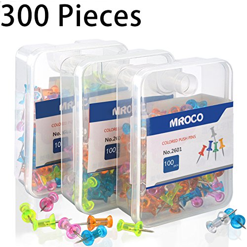 MROCO Push Pin Push Pins Color Push Pins Office Push Pin, Clear Push Pins,Thumb Tacks,Thumb Tack Decorative for Cork Board, Home, Sharp Steel Points 3/ 8 Inch,5 Colors 300 Pieces