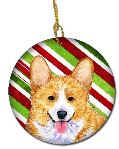 Multicolor Carolines Treasures SS4555-CO1 Corgi Candy Cane Holiday Christmas Ceramic Ornament