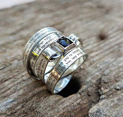 (Sterling Silver and Onyx Judaica Ring for Women Engraved in Hebrew with the Entire Love Prayer of Woman of Valor - Eshet Chayil)