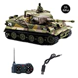 YouCute mini RC Tank with USB charger cable Remote Control Panzer tank 1:72 German Tiger I with Sound, Rotating Turret and Recoil Action When Cannon Artillery Shoots 35MHz (Khaki)