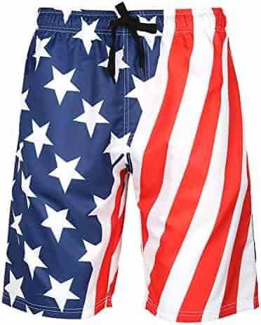 7225fa73ab Men's Swim Trunks Quick Dry Big and Tall Hawaii Printed Beach Board Shorts (2XL,