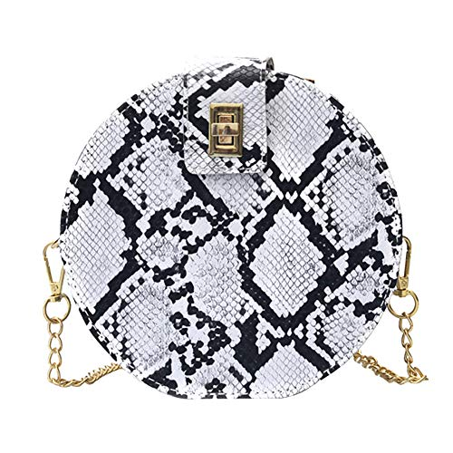 ink2055 Women Snakeskin Embossed Twist Lock Chain Crossbody Shoulder Small Round Bag White ()