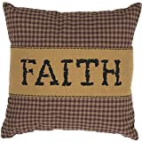VHC Brands Crimson Red Primitive Classic Country Decor Heritage Farms Faith 12x12 Pillow, 12.0'' X 12.0'' X 4.0''