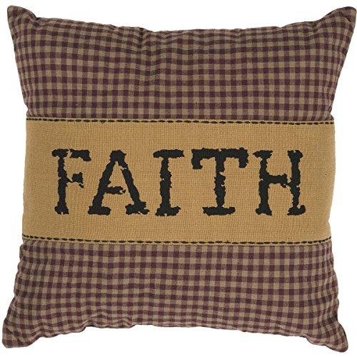 (VHC Brands Primitive Bedding Settlement Faith Cotton Appliqued Chambray Plaid Square Pillow, 12.0