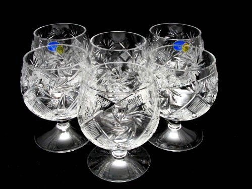 6 Russian CUT Crystal Cognac Snifters 300ml/10oz Hand Made