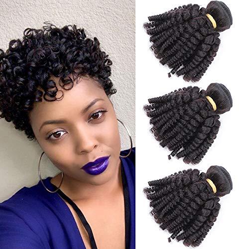 Brazilian Virgin Funmi Hair 3 Bundles, Spiral Curl Hair Bundles Short Curly Weave, Unprocessed Brazilian Human Hair Weave Weft Extensions Full Head Natural Black 300g (8