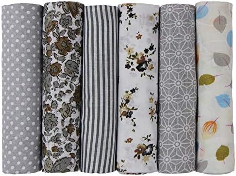 UOOOM 6pcs 50 x 50 cm, diseño de retales algodón Tejido DIY Hecho a Mano Costura Quilting Tela diseños Diferentes (Tone-Gray): Amazon.es: Hogar