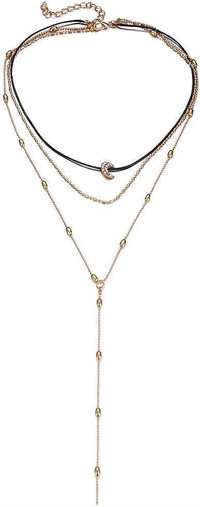 Onefeart Chapado en Oro Colgante Collar para Mujeres Chicas Rojoondo Cristal Tres Capas Collar Curvo Luna Forma 38CM Oro