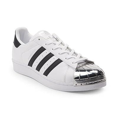 adidas Originals Women's Superstar W Fashion Sneaker (Womens 7.5, White Silver Toe 6310)