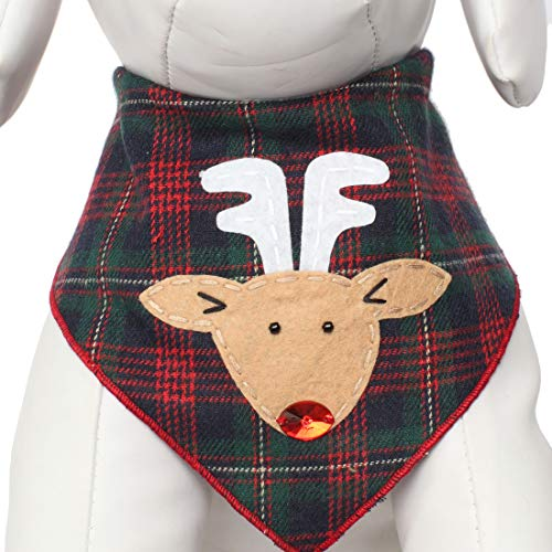 Reindeer Plaid Pet Scarf