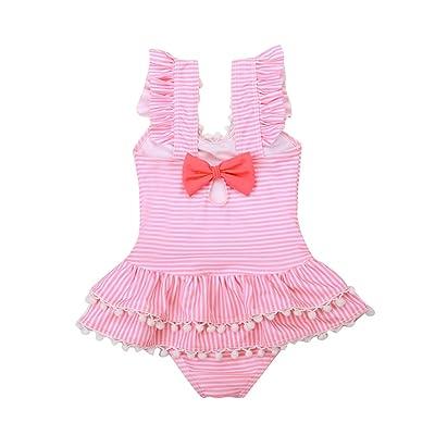 New Lovely Kid Baby Girls Ropa Verano Flamingo Imprimir Traje de baño de Volantes Traje de baño Bikini Ropa de Playa - Talla XL: Hogar