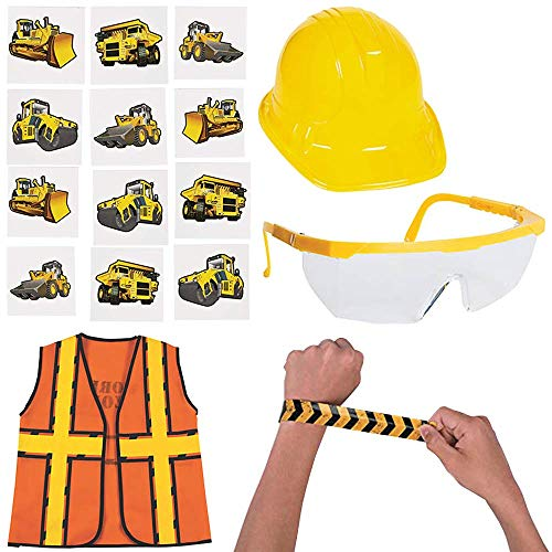 Mr. E=mc2 Construction Worker Dress Up Costume | Hard Hat, Vest, Glasses, Bracelet, Tattoos Orange