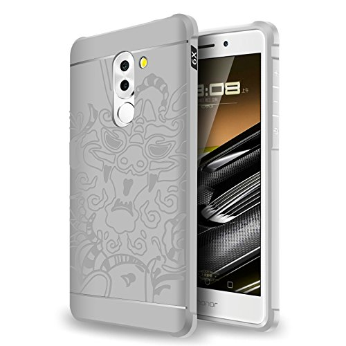 SMTR Huawei Honor 6X Funda Silicona,Huawei Honor 6X Funda Gel Suave TPU Case - Carcasa Resistente a los Arañazos para Huawei Honor 6X -Blanco dragón Blanco