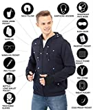 XY37 Men Travel Jacket Hoodie 10 Pockets Travel Pillow Eye Mask Face Mask Gloves (XXX-Large, Navy)