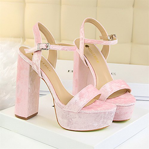 z&dw Elegante talón sexy super alta impermeable tabla de terciopelo con sandalias Rosa