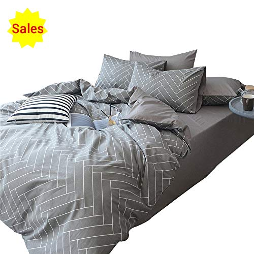(OTOB Striped Boys Queen Duvet Cover Sets Gray White 3 Piece Bedding Set Full Size for Teens Man with 2 Pillow Shams Zipper Closure and 4 Corner Ties(Queen/Full, Style 192))