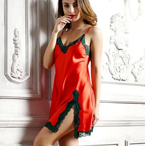 Séduisante Red Nuit Split Pyjama D'été Soie Femmes Sexy green xl Fashion Chemise Robe Dentelle Modyl Casual Femme Sling De qFIExwZEUC