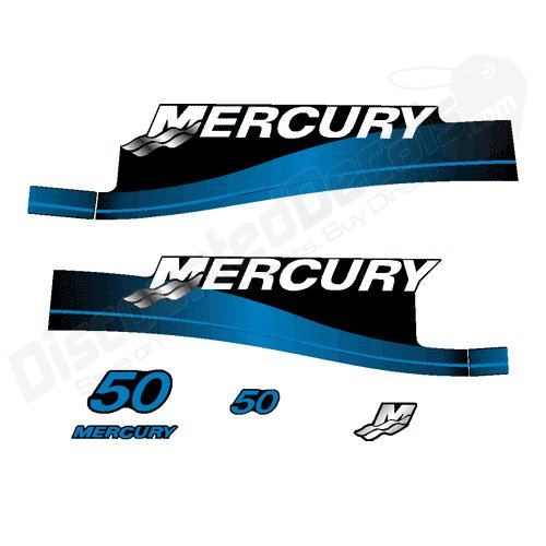 Mercury Outboard 50P Decal Kit Electric Stickers 2 Stroke 50 HP Blue 1999-2006 (Outboard Motor Decals)