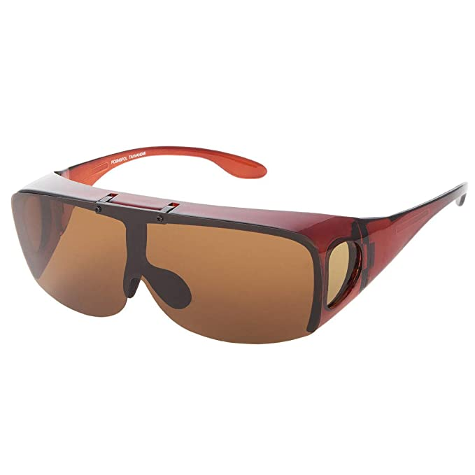 d8164861fb6 Image Unavailable. Image not available for. Color  Brown Sunglasses  Polarized Fit Over Cover All Glasses Drive Fish Wrap Solar Shield ...