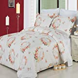LUXURIOUS Liza 8 Piece (8PC) Full Size BED IN A BAG Set - 100% Egyptian Cotton 300 Thread Count Duvet Cover Set + Wrinkle Free Brushed Microfiber Bed Sheet Set & Super Soft All Season White Down Alternative Comforter