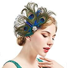 BABEYOND Peacock Feather Hair Clip Peacock Fascinator with Rhinestones Roaring 20s Peacock Flapper Fascinator 1920s Peacock Hair Accessories (Style 2)