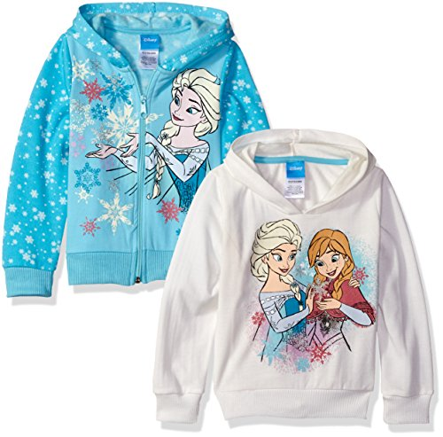 Disney Little Girls' Frozen Elsa and Anna 2 Pack Hoodies, Blue, (Anna Outfit)