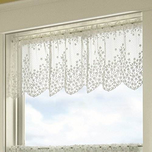 Heritage Lace Blossom 42-Inch Wide by 15-Inch Drop Valance, White